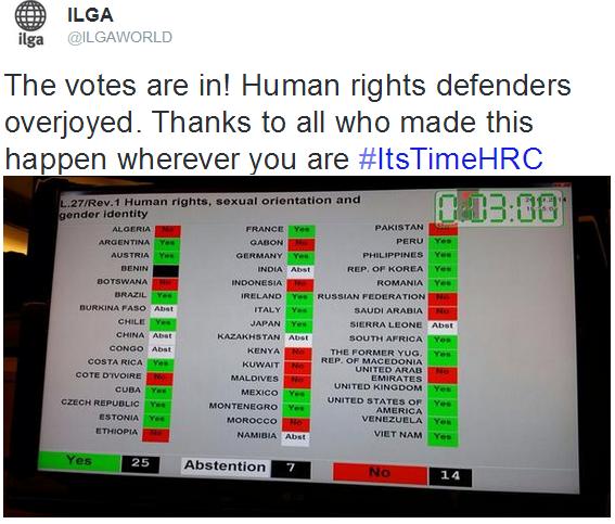 """El Consejo de los Derechos Humanos adopta una resolución sobre """"Derechos Humanos, Orientación Sexual e Identidad de Género"""" donde Colombia fue copatrocinador de esta disposición"""