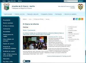 Nota periodística emitida por el Sitio Web Oficial de El Charco en Nariño, Colombia:  http://www.elcharco-narino.gov.co/noticias.shtml?apc=ccx-1-&x=2967599