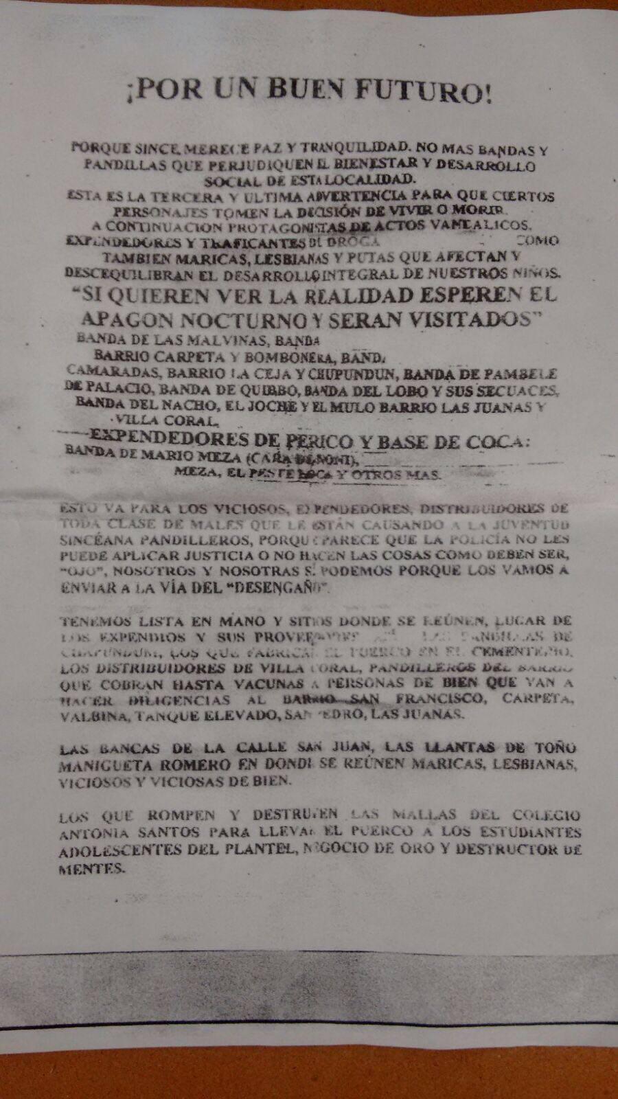 Panfleto en Sincé, Sucre