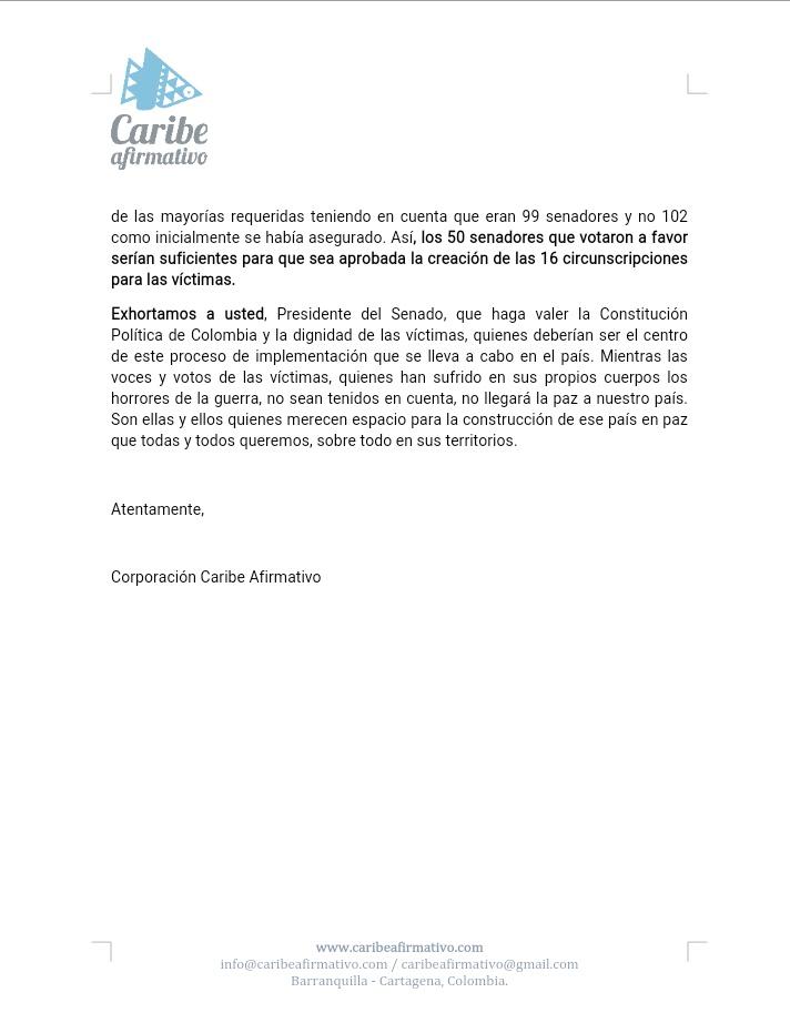 Caribe Afirmativo apoya solicitud de Min. Guillermo Rivera para creación de Circunscripciones Espciales de Paz.